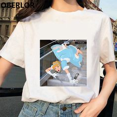 Online Shop Camisetas Verano Mujer 2019 Princess with Cinderella Print T Shirt Women Summer White Short Sleeve Harajuku Aesthetic Clothes Aesthetic T Shirts, Aesthetic Clothes, Aesthetic Grunge, Collars For Women, T Shirts For Women, Clothes For Women, Vintage Outfits, Geile T-shirts, Vetement Fashion