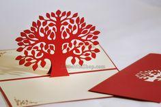 Tree pop up hand made paper card laser cut congratulation card, love card, thank you card, birthday card, wedding card