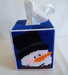 Happy Snowman Tissue Box Cover Plastic by KarensCrochetCottage