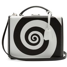 Mark Cross Grace large swirl grained-leather box bag ($2,294) ❤ liked on Polyvore featuring bags, handbags, black white handbag, mark cross handbags, handbags totes, full grain leather purse and black and white tote