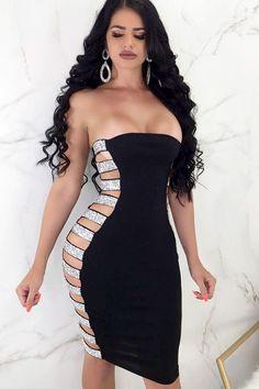 Women Strapless Cutout Black Sexy Bodycon Dress - S Tight Dresses, Sexy Dresses, Mini Dresses, Clubbing Dresses, Pleated Dresses, Club Dresses, Ball Dresses, Party Dresses, Evening Dresses