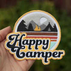 Happy Camper Velcro-Backed Patch #happycamper #happycamperpatch #happycamping #camping #fallcamping #tent #trees #moonlight #underthestars #nature #outdoor #adventure #velcropatch #patches #patchwhore #patchlife #patchgame #patchlife #patchstyle #embroideredpatch #etsypatches  #edc #edclife #everydaycarry