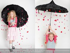Valentine photo shoot idea. Rain or shine, you'll always be my Valentine.  Umbrella and hearts prop..