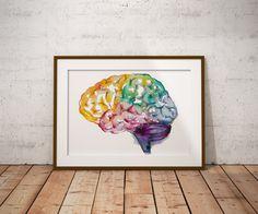Brain watercolor painting watercolor print by EbbAndFlowWatercolor
