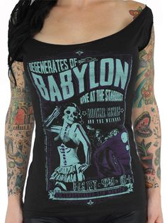 "Women's ""Degenerates Of Babylon"" Off Shoulder Tee by Serpentine Clothing (Black)"