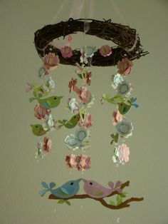 Love Bird Baby Mobile with Wreath by magicalwhimsy on Etsy, $80.00