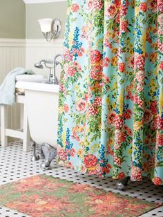 Charming Cotton Shower Curtain From April Cornell, A Renowned Vermont Artist. This  Colorful Yarn