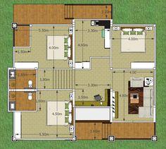 บ้านป่าตาล แบบบ้านชั้นเดียว แบบบ้านชั้นครึ่ง สองชั้น ไทยประยุกต์ - แบบบ้านชั้นเดียวยกพื้น BP27 Thing 1, Bali, Modern Bungalow House, Thai House, House Plans, New Homes, Floor Plans, Layout, House Design