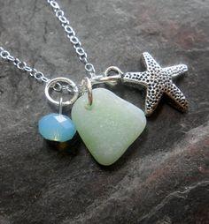 Beach Glass Necklace  Sea Glass Jewelry  Jaded by SeaFindDesigns, $38.00