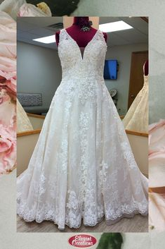 Plus Size Lace & Net Ballgown Wedding Dress with V-Neckline and Lace Up Back V Neck Wedding Dress, Wedding Gowns, Bridal Suite, Yes To The Dress, Plus Size Wedding, Elegant Dresses, Bridal Dresses, Ball Gowns, Neckline