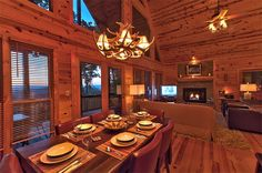 Appalachian Sunrise  | Cabin Rentals of Georgia - Elegant Formal Dinning Area for 6 Just Off the Kitchen