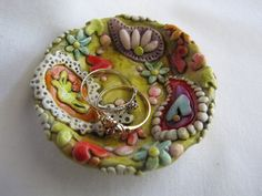 Round Paisley pattern ring dish, trinket dish polymer clay