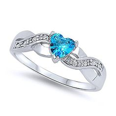 Sterling Silver Rhodium Plated, Heart Light Blue CZ Color Stone Promise Ring 5MM