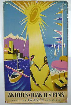 Vintage Travel Poster - Antibes - Juan Les Pins - Côte D'Azur - France - 1930 -1940s.