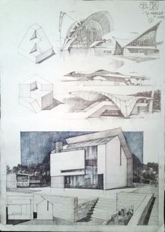 Architecture drawing and sketches vladbucur. Form Architecture, Architecture Sketchbook, Architecture Graphics, Drawing Sketches, Cool Drawings, Sketching, Concept Draw, Archi Design, Environment Design