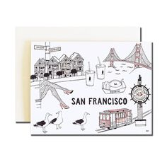 San Francisco Greeting Card. Stylish Card. Illustration card. Print of my Original Illustration with Ink and Watercolor. by akrDesignStudio on Etsy https://www.etsy.com/listing/241344618/san-francisco-greeting-card-stylish-card