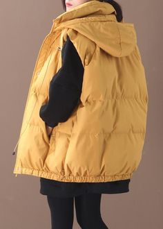 Elegant plus size warm winter coat yellow hooded sleeveless casual out – SooLinen Autumn Fashion Women Fall Outfits, Winter Coat, Linen Fabric, One Size Fits All, Women's Clothing, Casual Outfits, Plus Size, Women's Fashion, Clothes For Women