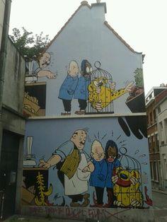 Blondin et Cirage, Graffiti, Street Art, Brussels, Belgium Urban Street Art, Best Street Art, Amazing Street Art, 3d Street Art, Urban Art, Graffiti Art, Murals Street Art, Luxembourg, Wonder Art