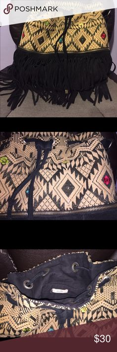 Tote Bag Aztec Pattern with Suede Fringe Ecote Bags Totes