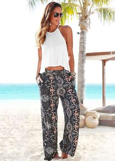 Pants & Capris Hot Women Summer Beach Casual Printed Long Pants Wide Leg High Elastic Waist Fashion Long Pants Trousers