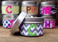 Soy Candles PERSONALIZED 4oz Candle Tin YOU CHOOSE Scent and Design!!!