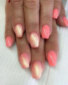 There are three kinds of fake nails which all come from the family of plastics. Acrylic nails are a liquid and powder mix. They are mixed in front of you and then they are brushed onto your nails and shaped. These nails are air dried. Gel Nail Art Designs, Nail Designs Spring, Coral Nail Designs, Coral Nails With Design, Summer Shellac Designs, Glitter Nail Designs, Colorful Nail Designs, Fancy Nails, Diy Nails
