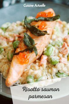 La recette du risotto saumon parmesan #cuisineactuelle #risotto #saumon #parmesan Fresh Rolls, Parmesan, Cooking, Healthy, Ethnic Recipes, Kitchen, David, Book, Dinner Entrees
