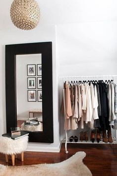 DIY Walk In Closet - How To Turn Spare Room Into Closet Shop domino for the top brands in home decor and be inspired by celebrity homes and famous interior designers. domino is your guide to living with style. Closet Bedroom, Bedroom Decor, Bedroom Ideas, Clothes Rack Bedroom, Bedroom Inspo, Bedroom Designs, Closet Designs, Bedroom Lighting, Bedroom Storage