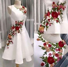 Embroidery flowered Prom Dress,A-line Homecoming Dress, Short Party Dress White Evening dress Embroidery Fashion, Embroidery Dress, Floral Embroidery, Ribbon Embroidery, Embroidery Designs, Ball Gowns Evening, Evening Dresses, Ball Dresses, Short Dresses