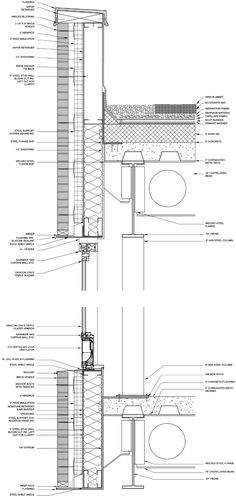 ENCLOSURE DETAILS: BRICK VENEER FACADE Facade Detail With Curtain Window & Wall Plan Detail With Window Opening
