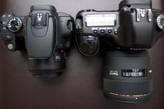 Tips for first time DSLR owners  Canon Rebel with Canon 50mm F/1.8 on the left and Canon 5D with Sigma 85mm F/1.4 on the right