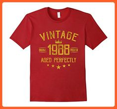 Mens Vintage 1988 T-Shirt 29 years old B-day 29th Birthday Gift Small Cranberry - Birthday shirts (*Partner-Link)