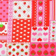 Lecien House Designer - Lovely Punch - Strawberry Patchwork in Red