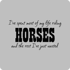 My life is spent on horses
