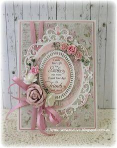 Spellbinders Classic Fleur de Elegance Nestabilities Die - Keep Smiling ~ Maja Designs ~ - Karten Diy, Shabby Chic Cards, Spellbinders Cards, Beautiful Handmade Cards, Pretty Cards, Card Tags, Creative Cards, Flower Cards, Vintage Cards