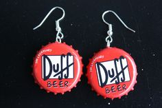 Bottle Cap Earrings - Morning Creativity...endless brand names possible girls... begging to be personalized !!