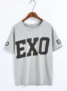Kpop Style Loose Short-sleeved T-shirt Exo T Shirt, Sweater Shirt, Kpop Outfits, Cute Outfits, Kpop Shirts, Exo Merch, Loose Shorts, Back To School Outfits, How To Roll Sleeves