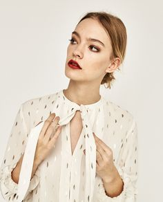 PRINTED BLOUSE WITH BOW-View all-TOPS-WOMAN | ZARA United States