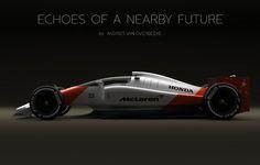 Andries van Overbeeke - McLaren-Honda Formula 1 Concept with closed cockpit Formula 1, Auto F1, Nascar, Mclaren F1, Automotive Art, Car And Driver, Concept Cars, Grand Prix, Cool Cars