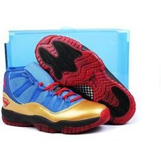 Jordans Shoes Jordan 11 Superman Blue Gold Red [Jordan 11 - You will definitely fall in love with this Jordan 11 Superman Blue Gold Red on our site. A pair of Jordan shoes in Superman version. As you can see, it features a blue and gold upper with bit Air Jordan Retro, Jordan 11 Blue, Nike Jordan 11, Jordan Xi, Nike Air Jordans, Nike Air Max, New Jordans Shoes, Jordans For Men, Cheap Jordans