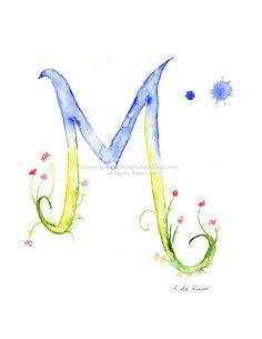 Lettera M Monogram acquerello fiore di MilkandHoneybread su Etsy