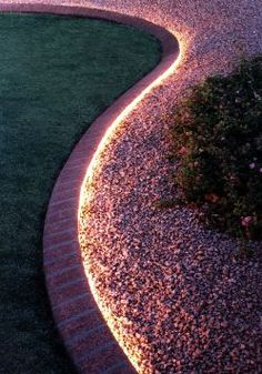 Diy outdoor lighting the secret life of rope light stone walkway pinmydreambackyard we already have the curbing the lighting would be a nice addition aloadofball Gallery