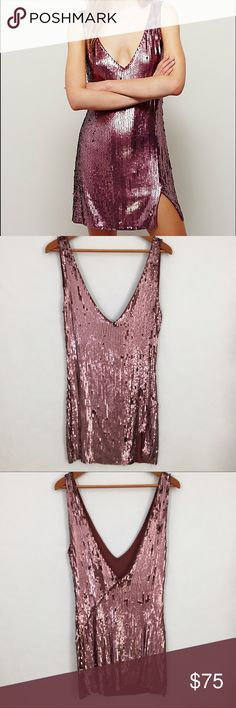Free People Sexy in Sequins dress New without tags!  Beautiful rose sequins with slip dress cut.  Fits true to size. Reasonable offers welcome. Note: 20% off 2 or more items from my closet. Free People Dresses