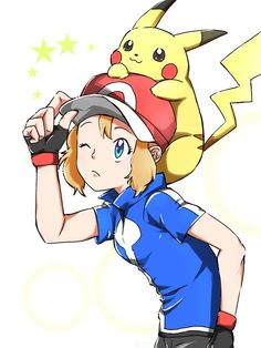 Serena and Pikachu #Amourshipping ^.^ <3 Kudos to whoever made this fan art
