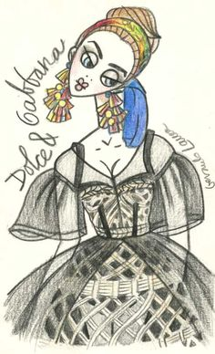 An amazing Dolce & Gabbana sketch. Illustration.Files: Dolce & Gabbana S/S 2013 by Gerardo Larrea | Draw A Dot.