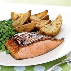 Finish the salmon under the broiler to caramelize the glaze into a tasty browned crust. Serve with roasted potato wedges and peas.View Recipe: Salmon with Maple-Lemon Glaze Best Salmon Recipe, Healthy Salmon Recipes, Fish Recipes, Seafood Recipes, Cooking Recipes, Gf Recipes, Skinny Recipes, Asian Recipes, Cooking Tips