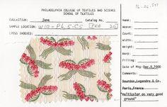 "Floral ribbon print.  Bourdon, Legendre, & Co.  December 8, 1900.  ""Multicolor on a very good ground."""