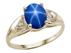 Created Sapphire Genuine Diamond ring