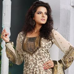 Cream Viscose Georgette Churidar Kameez With Dupatta Online Shopping: KBS420