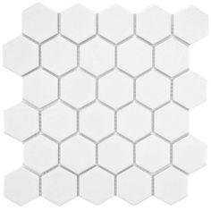 White hex tile - matte (for inset border only)